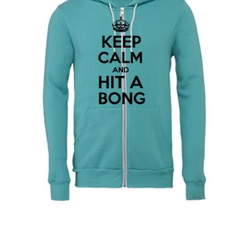 keep calm and Hit a Bong - Unisex Full-Zip Hooded Sweatshirt