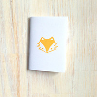 Small Notebook: Fox, For Him, For Her, White, Yellow, Gift, Fox Face, Simple, Kids, Jotter, Cute, Small Notebook, Stamped, Unique, WH1y