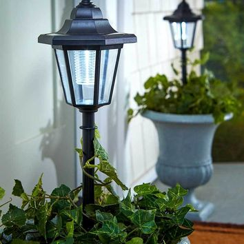 Set of 2 Solar Lanterns Stake or Standing Porch Garden Lawn Pathway Lights