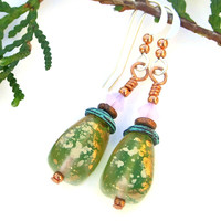 Green and Gold Earrings, Mykonos Turquoise Lavender Handmade Czech Glass Jewelry for Women