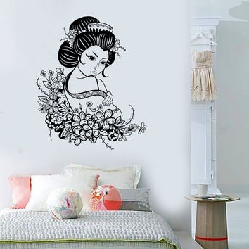 Vinyl Wall Decal Geisha Japan Japanese Flowers Asian Art Stickers (ig3516)