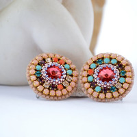 Rio  -  Bead Embroidery Earrings