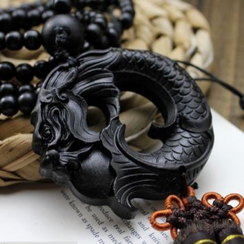 China Black Dragon Statue Beast Wood Carving Crafts Amulets Car Hanging Decoration Buddha sculpture Wooden Craft Beads AHJ006