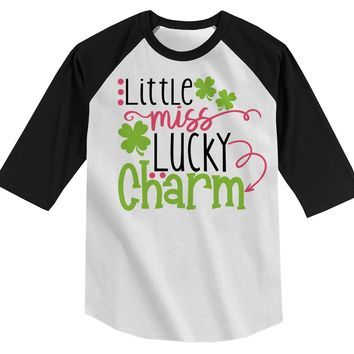 Shirts By Sarah Girl's Little Miss Lucky Charm T-Shirt ST. Patrick's Day ¾ Sleeve Raglan