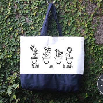 Plants Are Friends Tote Bag, Handmade Bag, Harry potter Tote Bag, 100% cotton canvas, Canvas tote