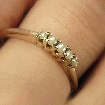 10K GOLD Pearl Antique Victorian Wedding RING Band Engagement Bridal Jewelry Size 7.5 Hallmarked, Valentines Gift for Her