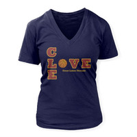 CLE Love - Basketball - Women's Deep V (Navy)