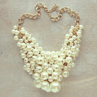 Pree Brulee - Minerva Statement Pearl Cluster Necklace