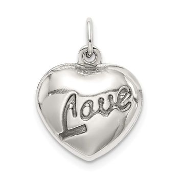 925 Sterling Silver Love Puffed Heart Charm and Pendant