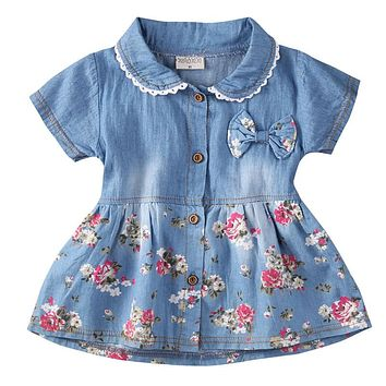 Flower Girls Kids Baby Summer Princess Dress Turn-Down Collar Short Sleeve Button Denim Pageant Dresses