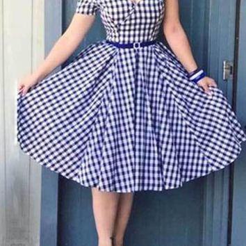 Blue Plaid Print V-neck Off Shoulder Puffy Cute Homecoming Midi Dress