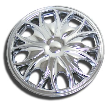 "Set of 4  Chrome Finish Hubcaps 15"" WSC-526C15 - Hub Caps Wheel Skin Cover 15 Inches 4 Pcs Set"