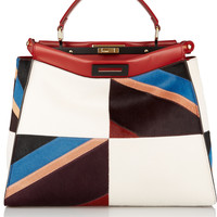 Fendi - Peekaboo large leather-trimmed patchwork calf hair tote