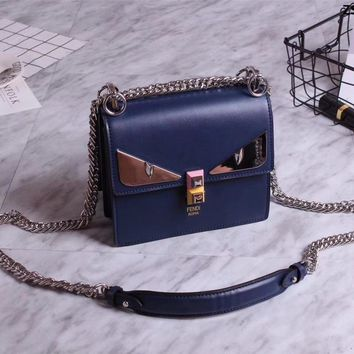 Fendi Kan I Bag Bugs Leather Chain Shoulder Bag