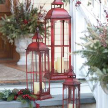 3 Glass Candle Lanterns - Red