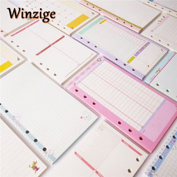 Hot New Cute A5/A6/A7 Notebook's Filler Papers Creative 6 Holes Spiral Filler Paper For Filofax Binder Planner School Supplies