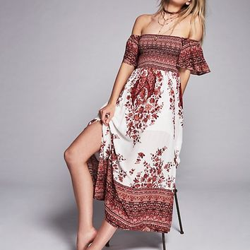 Free People Louise Border Print Midi Dress