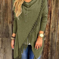 Winter Spring Casual Long Sleeve Tassel Shirts Fringe Front Top for Women +Free Gift -Random Necklace