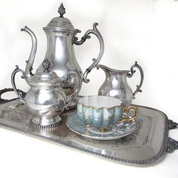 Glastonbury Antique Silver Plate Tea Set - Teapot, Tray, Sugar Bowl w/ Lid, Creamer