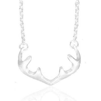 Exquisite 925 Sterling Silver Deer Antler Chain Pendant Necklace