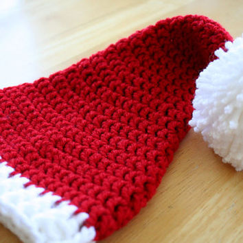 Santa Hat, Christmas Hat, Christmas stocking hat, crochet holiday photo prop, red and white, Adult size