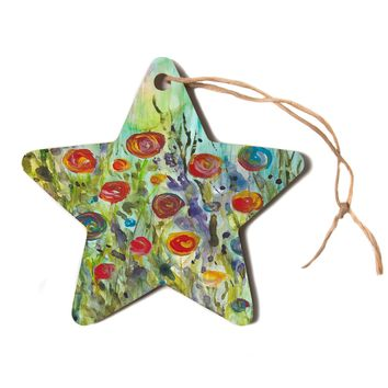 "Rosie Brown ""Klimt Inspired"" Multicolor Floral Nature Painting Star Holiday Ornament"