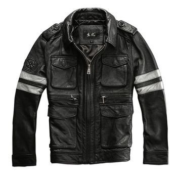 man motorcycle jacket male genuine cow leather zipper quality cowhide motorcycle cowhide rider M65 jacket
