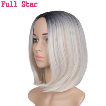 "Full Star Short BoB Wigs For Black Women 12"" Straight Black ombre 613 Synthetic Heat Resistant Fiber 160g synthetic BoB Wig"