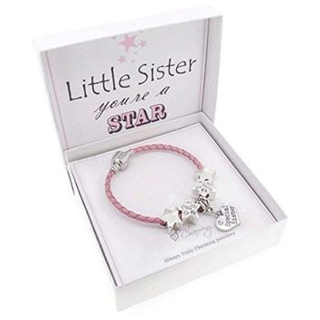 AUGUAU Little Sister You're a Star Pink Leather Charm Bracelet Gift Boxed 17cm