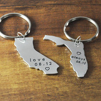 Personalized state keychain,alloy couple key chain set,custom Florida,California,Kansas­,New York,Texas,do any map