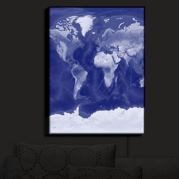 Illuminated Wall Art // Catherine Holcombe // World Map Blue