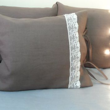 Linen Pillow Shams. Linen Pillowcases. Set of 2 Pillow Cases/Brown Linen Pillow Covers. Organic Linen Bedding.