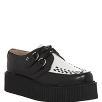 T.U.K. Black & White Leather Mondo Sole Creeper