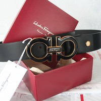 NWT Authentic Salvatore Ferragamo Black Calfskin Belt Double Gancio Buckle 105cm