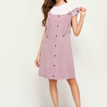 Corduroy Button Front Pinafore Dress