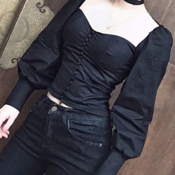 Black Sweetheart Choker Neck Button Front Puff Sleeve Top