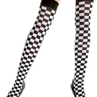 Black & White Checkered Thigh Highs