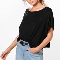 Eliza Oversized Slash Neck T-Shirt | Boohoo