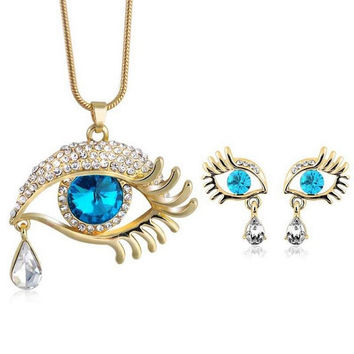 Teardrop Eye Crystal Jewelry Set For Women Gold Plated Austrian Rhinestone Evil Eye Necklace Earrings Set Colar Perola