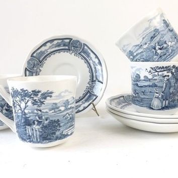 J & G Meakin Cups and Saucers, Set of 4, Blue and White Vintage Ironstone, American Heritage Scenic Pattern Royal Staffordshire England