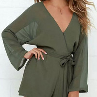 Army Green V-neck Long Sleeve Rompers with Belt