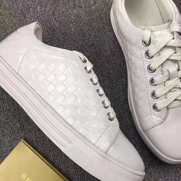 GUCCI Women Trending Fashion Leather Casual Sneakers Sports Shoes White
