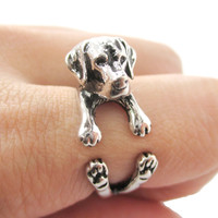 3D Labrador Retriever Shaped Animal Wrap Ring in Shiny Silver | Sizes 4 to 8.5