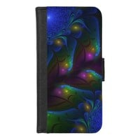 Colorful Luminous Abstract Modern Fractal Art iPhone 8/7 Wallet Case