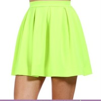 Neon Yellow Back Zipper Skirt
