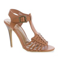 Princess63V Tan Pu By Aquapillar, Caged Open Toe Cushion Comfort Sling Back Sandals