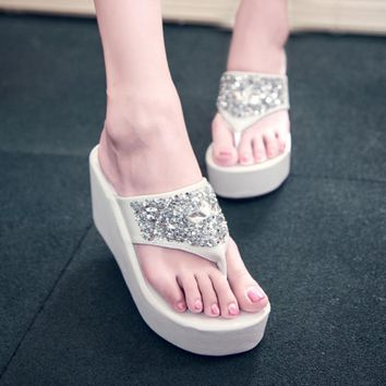 2017 New Summer Rhinestone Wedge Flip Flops Crystal Platform Women Pumps Sandals Slides Ladies Shoes