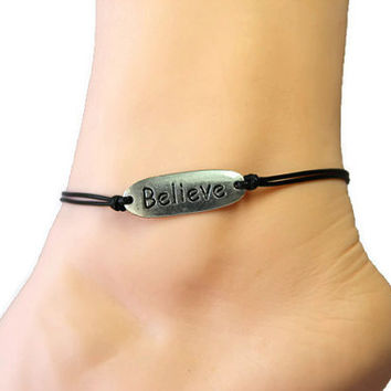 stamped believe anklet/bracelet,words disc anklet,silver charm,black wax cord,summer trending,lucky jewelry,personalized gift,