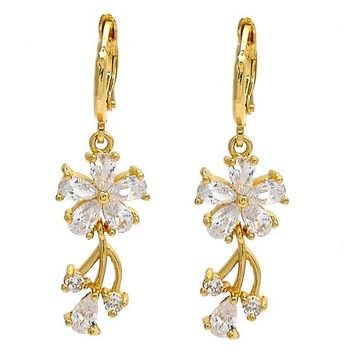 Gold Layered Long Earring, Flower and Teardrop Design, with Cubic Zirconia, Golden Tone