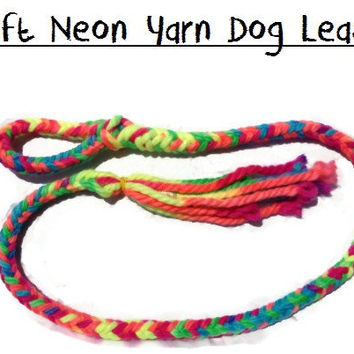 Neon Yarn 5 ft Handmade Braided Custom Dog Leash  by EnriquesPlace